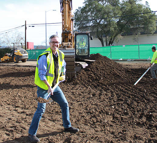 Hugh Davies with a silver shovel breaking ground on Davies Vineyards site in 2015.
